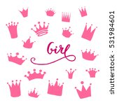 vector set of hand drawn crowns ... | Shutterstock .eps vector #531984601