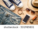 clothing for men on the wooden... | Shutterstock . vector #531985831