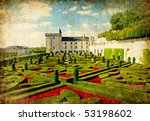 Villandry castle - retro styled picture (from my castles collection) - stock photo