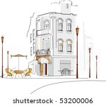 old city with a cafe | Shutterstock .eps vector #53200006