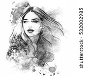 abstract woman face. fashion... | Shutterstock . vector #532002985