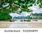 boat on railay beach in krabi... | Shutterstock . vector #532004899