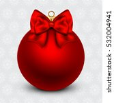 red christmas ball with a bow ... | Shutterstock .eps vector #532004941