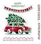 watercolor retro style merry...   Shutterstock . vector #532013605