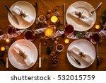 christmas table setting for... | Shutterstock . vector #532015759