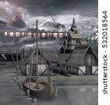 Medieval Ship In An Harbor Nea...