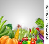 vegetables on a wooden... | Shutterstock .eps vector #532038751