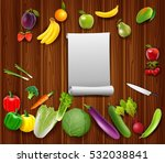 vegetables fruits with paper on ... | Shutterstock .eps vector #532038841