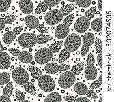 pineapple tropical fruit... | Shutterstock . vector #532074535