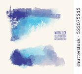 vector set of blue watercolor... | Shutterstock .eps vector #532075315