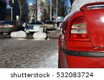 red car parked on the winter... | Shutterstock . vector #532083724