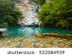 blue lake in mountains on the... | Shutterstock . vector #532084939