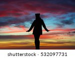 silhouette of a woman with open ... | Shutterstock . vector #532097731