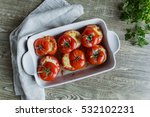 stuffed baked whole tomatoes... | Shutterstock . vector #532102231