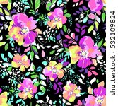 super cute  neon flower print... | Shutterstock .eps vector #532109824