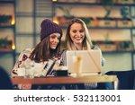 two friends enjoying coffee... | Shutterstock . vector #532113001