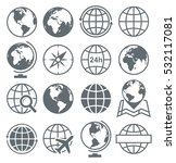 earth globe round icon set... | Shutterstock .eps vector #532117081