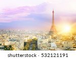 Sunset Eiffel Tower And Paris...