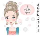 young  beautiful  cute ... | Shutterstock .eps vector #532132984