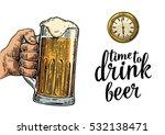 male hand holding glass beer... | Shutterstock .eps vector #532138471