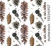 watercolor hand painted cones.... | Shutterstock . vector #532141927