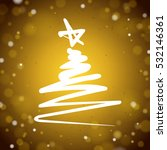 zigzag christmas tree on a gold ... | Shutterstock .eps vector #532146361