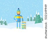 winter landscape and man with... | Shutterstock .eps vector #532149949