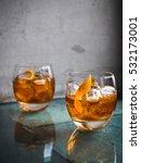 two orange campari cocktails  ... | Shutterstock . vector #532173001