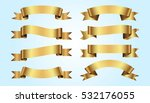 set of golden ribbons on blue... | Shutterstock .eps vector #532176055