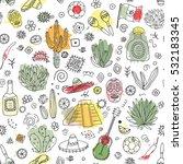 doodles seamless pattern of... | Shutterstock .eps vector #532183345