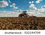 farmer in tractor preparing... | Shutterstock . vector #532194709