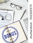 Small photo of Bonus Prize Profit Incentive Additional Compensation Concept