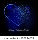 abstract neon hearts with... | Shutterstock .eps vector #532216594