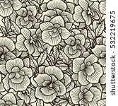 Doodle Flowers Seamless Patter...