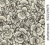 doodle flowers seamless pattern.... | Shutterstock .eps vector #532219675