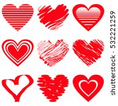 red heart icons. vector... | Shutterstock .eps vector #532221259