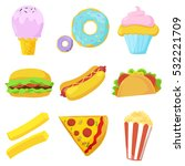 cute fast food icons set.... | Shutterstock .eps vector #532221709