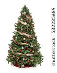 Stock photo isolated christmas tree decorated with ornaments and burlap garland 532235689