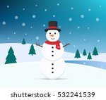 Snowman With Winter Background...