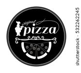 pizza badge with kitchen chef ... | Shutterstock .eps vector #532262245