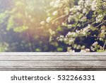 wood table top and blurred...   Shutterstock . vector #532266331