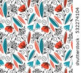 colorful seamless floral pattern | Shutterstock .eps vector #532274104
