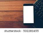 office desk table with laptop... | Shutterstock . vector #532281655