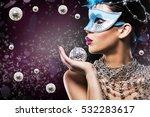 beautiful woman with dark... | Shutterstock . vector #532283617