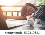 tired business woman asleep on... | Shutterstock . vector #532310521