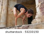 female yoga teacher executing... | Shutterstock . vector #53233150