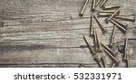 new yellow screws on the wooden ...   Shutterstock . vector #532331971
