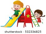 boy and girl playing on slide... | Shutterstock .eps vector #532336825