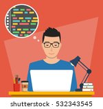 man is working with laptop.... | Shutterstock .eps vector #532343545