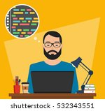 man is working with laptop.... | Shutterstock .eps vector #532343551